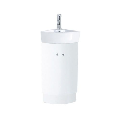 Arizona White Gloss Floor Standing Corner Cabinet & Basin